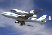 Space Shuttle Endeavour Prints - Space Shuttle Endeavour Over LAX with Hornet Chase Plane September 21 2012 Print by Brian Lockett