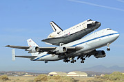 Space Shuttle Endeavour Prints - Space Shuttle Endeavour Taking Off From Edwards AFB front September 21 2012 Print by Brian Lockett
