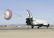 Airfield Prints - Space Shuttle Endeavour With Its Drag Print by Stocktrek Images