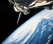 Planet Earth Art - Space Shuttle In Outer Space by Stockbyte