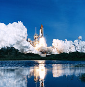Rocket Boosters Prints - Space Shuttle Launch Print by Stocktrek Images