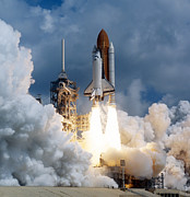 Space Shuttle Photo Framed Prints - Space Shuttle Launching Framed Print by Stocktrek Images