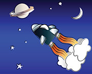 Cute Cartoon Art - Space travel by Jane Rix