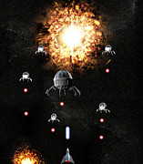 Space Invaders Framed Prints - Space War Framed Print by Christian Darkin