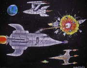 Space Ships Painting Framed Prints - Space Wars Framed Print by Gordon Wendling