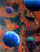 Outer Space Painting Posters - Space World Poster by OctaviasCanvas