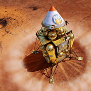 Spacecraft Photos - Spacecraft Lands On Mars, Artwork by Detlev Van Ravenswaay