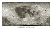 3.14 Metal Prints - Spacecraft On The Moon, Lunar Map Metal Print by Detlev Van Ravenswaay