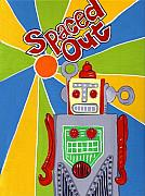 Retro Painting Acrylic Prints - Spaced Out   ToyRobot Acrylic Print by Lynnda Rakos