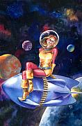 Retro Paintings - Spacegirl by Ken Meyer jr