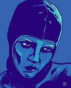 Portrait  Drawings Posters - Spaceman in Blue Poster by Giuseppe Cristiano