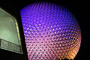 Geodesic Dome Digital Art - Spaceship Earth and Futuristic Walkway EPCOT Walt Disney World Prints Fresco by Shawn OBrien