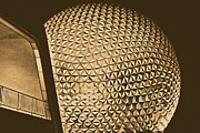 Geodesic Dome Digital Art - Spaceship Earth and Futuristic Walkway EPCOT Walt Disney World Prints Rustic by Shawn OBrien