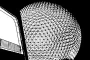 Geodesic Dome Digital Art - Spaceship Earth and Futuristic Walkway EPCOT Walt Disney World Prints Stamp by Shawn OBrien