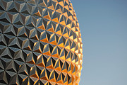 Disney Framed Prints - Spaceship Earth Sunset Profile EPCOT Walt Disney World Prints Accented Edges Framed Print by Shawn OBrien