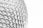 Geodesic Dome Digital Art - Spaceship Earth Sunset Profile EPCOT Walt Disney World Prints Line Art by Shawn OBrien