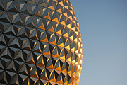 Travelpixpro Posters - Spaceship Earth Sunset Profile EPCOT Walt Disney World Prints Poster by Shawn OBrien
