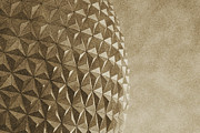 Geodesic Dome Digital Art - Spaceship Earth Sunset Profile EPCOT Walt Disney World Prints Vintage by Shawn OBrien