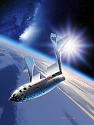 Composites Posters - SpaceShipOne Re-Entry Poster by Detlev van Ravenswaay and Photo Researchers