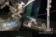 Outerspace Metal Prints - Spacewalk On Iss Metal Print by NASA/Science Source