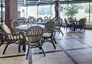 Empty Chairs Framed Prints - Spacious Cafe With Rattan Furniture Framed Print by Magomed Magomedagaev