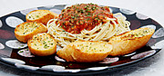 Noodles Photo Prints - Spaghetti And Meat Sauce With Garlic Toast Pano Print by Andee Photography