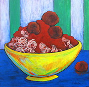 Spaghetti Painting Framed Prints - Spaghetti and Meatballs Framed Print by Pamela Iris Harden