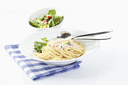 Salad Posters - Spaghetti In Bowl On White Background Poster by Westend61
