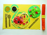 Salad Mixed Media Prints - Spaghetti Paper Dinner Print by Ward Smith