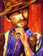 Clint Eastwood Art Paintings - Spaghetti Western Eastwood by Jennifer Morrison Godshalk