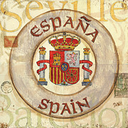 City Scape Painting Prints - Spain Coat of Arms Print by Debbie DeWitt
