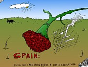 News Mixed Media - Spain reincarnation cartoon by OptionsClick BlogArt