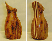 Wood Carving Sculpture Prints - Spalted Avocado Wood Vase Print by Russell Ellingsworth