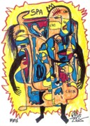 Contemporary Abstract Art Drawings - Spam Man by Robert Wolverton Jr