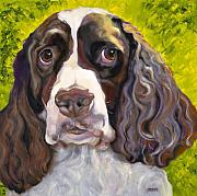 Animal Portrait Greeting Cards Prints - Spaniel The Eyes Have It Print by Susan A Becker
