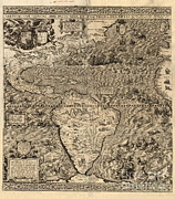 Americas Map Posters - Spanish America, 16th Century Map Poster by Science Source