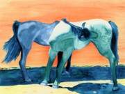 Spanish Horses Paintings - Spanish Barbs by Tracy L Teeter
