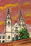 Roman Mixed Media Framed Prints - Spanish Church Framed Print by Sarah Loft