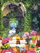 Potted Flowers Prints - Spanish Courtyard Print by Lynne Reichhart