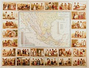Central Drawings Framed Prints - Spanish Ethnographic Map Framed Print by Pg Reproductions
