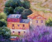 Country Pastels Posters - Spanish Farmhouses Poster by Candy Mayer