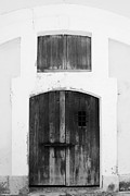 Caribbean Prints - Spanish Fort Door Castillo San Felipe Del Morro San Juan Puerto Rico Prints Black and White Print by Shawn OBrien