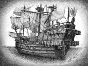 White Sails Drawings - Spanish Galleon by Tanya Crum