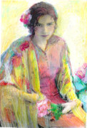 Shawl Pastels - Spanish Girl in Shawl by Lydia L Kramer