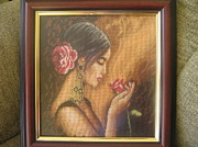 Picture Tapestries - Textiles Originals - Spanish girl by Veselina Simeonova