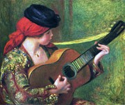 Senorita Framed Prints - Spanish girl with Guitar Framed Print by Pg Reproductions