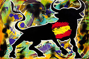 Animal Flag Art Framed Prints - Spanish he-Art Framed Print by Artista Elisabet