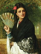 Senorita Framed Prints - Spanish Lady with Fan Framed Print by Pg Reproductions