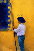 Blue Dress Posters - Spanish Man at the Yellow Wall. Impressionism Poster by Jenny Rainbow