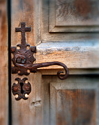 Knob Framed Prints - Spanish Mission Door Handle Framed Print by Jill Battaglia